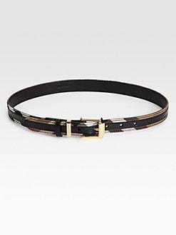 Burberry - Fann Leather Check Belt