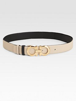 Salvatore Ferragamo - Nocciola Meditteraneo Reversible Leather Belt