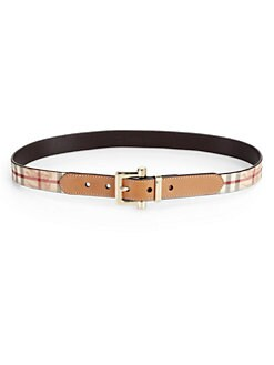 Burberry - Leather & Check Belt
