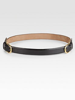 W. Kleinberg - Glazed Leather Double-Buckle Belt