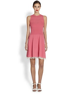 Moschino Cheap And Chic - Crochet-Trimmed Knit Fit-And-Flare Dress
