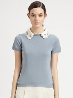 Moschino Cheap And Chic - Lace Collar Knit Top