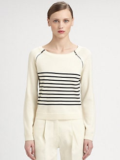 Moschino Cheap And Chic - Striped Wool Zip Sweater