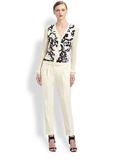 Moschino Cheap And Chic - Printed Crepe-Front Cotton & Wool Cardigan