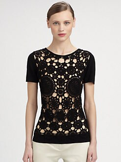 Moschino Cheap And Chic - Crocheted-Front Wool & Silk Sweater