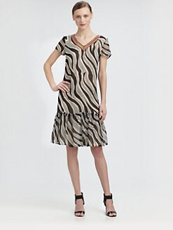 Moschino Cheap And Chic - Beaded-Neck Zebra-Print Chiffon Dress