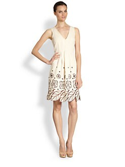 Moschino Cheap And Chic - Leaf-Appliquéd Printed Cotton & Linen Dress