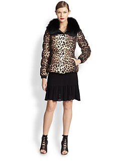 Moschino Cheap And Chic - Fur-Trimmed Leopard Bomber Jacket