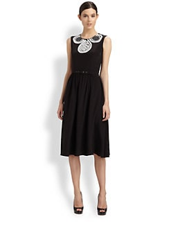 Moschino Cheap And Chic - Embroidered Silk Belted Dress