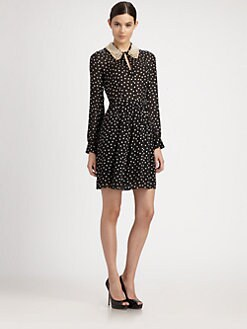 Moschino Cheap And Chic - Pearl-Collared Silk Polka Dot Dress