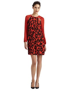 Moschino Cheap And Chic - Silk Georgette Polka Dot & Leopard-Print Dress