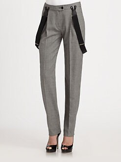 Moschino Cheap And Chic - Check Wool-Blend Suspender Straight-Leg Pants