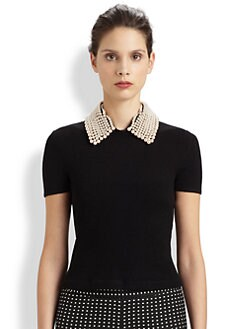 Moschino Cheap And Chic - Pearl-Collar Wool Sweater