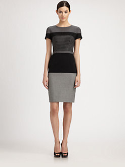 Moschino Cheap And Chic - Pattern-Blocked Wool-Blend Dress
