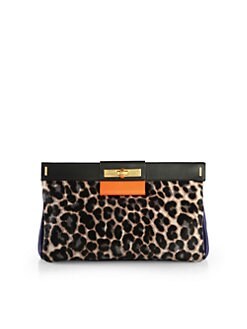 Marc by Marc Jacobs - Printed Haircalf and Leather Clutch