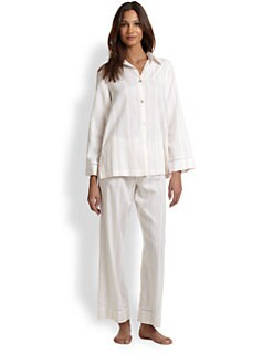 Oscar de la Renta Sleepwear - Breezy Morning Cotton Jacquard Pajama Set