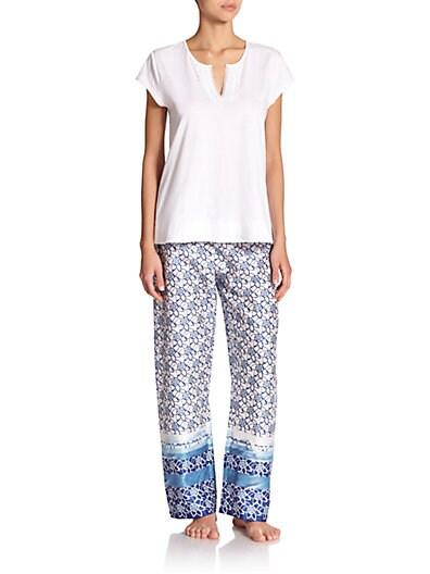 Blue Lotus Cotton Pajamas