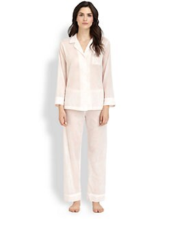 Oscar de la Renta Sleepwear - Cotton Lawn Notch Pajama Set