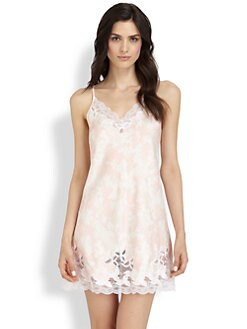 Oscar de la Renta Sleepwear - Printed Lace Trim Chemise