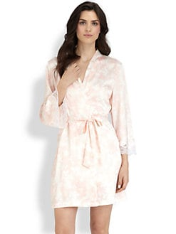 Oscar de la Renta Sleepwear - Lace Trim Short Robe