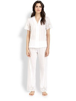 Oscar de la Renta Sleepwear - Striped Cotton Pajama Set
