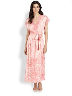 Oscar de la Renta Sleepwear - Long Printed Wrap