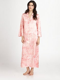 Oscar de la Renta Sleepwear - Printed Zip Caftan