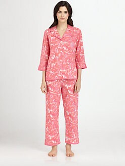 Oscar de la Renta Sleepwear - Printed Cotton Lawn Pajama Set