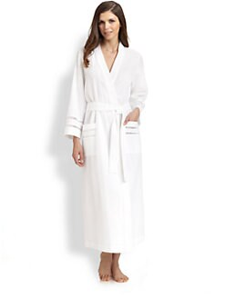 Oscar de la Renta Sleepwear - Waffle Weave Long Robe