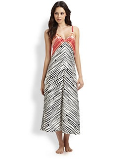 Oscar de la Renta Sleepwear - Striped Charmeuse Gown
