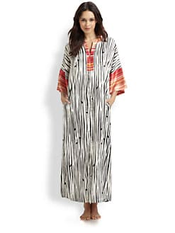 Oscar de la Renta Sleepwear - Striped Charmeuse Caftan