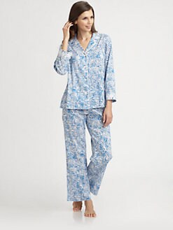 Oscar de la Renta Sleepwear - Graphic-Print Cotton Sateen Pajama Set