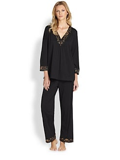 Oscar de la Renta Sleepwear - Embroidered Cotton Knit Pajamas