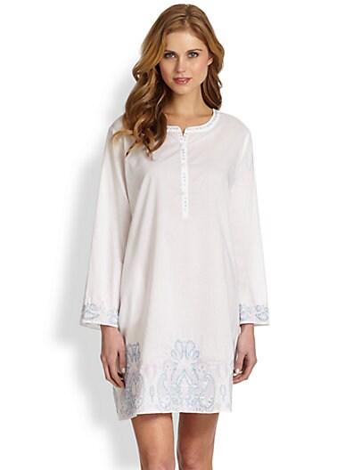 Oscar de la Renta Sleepwear Halftan Filigree Night Shirt White on ... 0dfad3e22