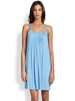 Oscar de la Renta Sleepwear - Eyelet-Trimmed Pleated Jersey Short Gown