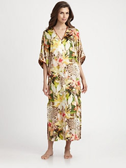 Oscar de la Renta Sleepwear - Tropical-Print Charmeuse Caftan