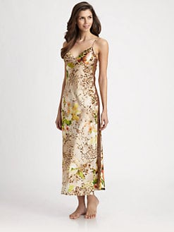 Oscar de la Renta Sleepwear - Tropical-Print Charmeuse Long Gown