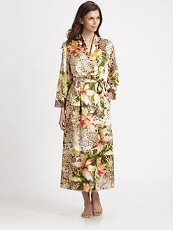 Oscar de la Renta Sleepwear - Tropical-Print Charmeuse Long Robe