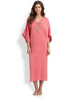 Oscar de la Renta Sleepwear - Embroidered Charmeuse Caftan