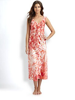 Oscar de la Renta Sleepwear - Georgette Long Ruffled Charmeuse Gown