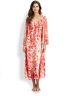 Oscar de la Renta Sleepwear - Georgette Long Charmeuse Robe