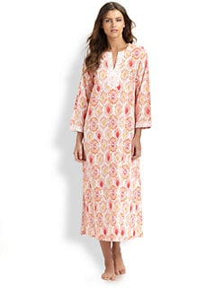 Oscar de la Renta Sleepwear - Embroidered Ikat-Print Cotton Caftan