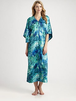 Oscar de la Renta Sleepwear - Exotic-Print Satin Caftan