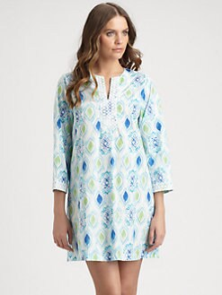 Oscar de la Renta Sleepwear - Ikat-Print Cotton Caftan