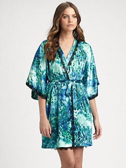 Oscar de la Renta Sleepwear - Exotic-Print Satin Robe