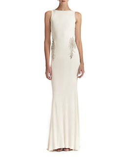 Badgley Mischka - Beaded Back-Drape Gown