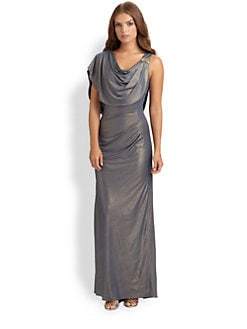 Badgley Mischka - Draped Liquid Jersey Dress