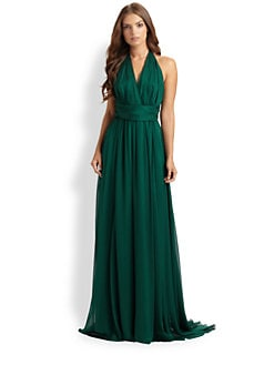 Badgley Mischka - Silk Halter Gown
