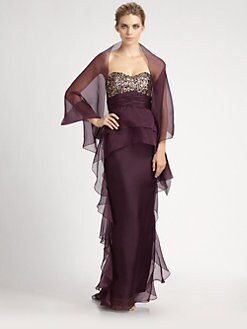 Badgley Mischka - Sequined Silk Organza Gown