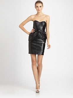 Badgley Mischka - Strapless Leather Dress